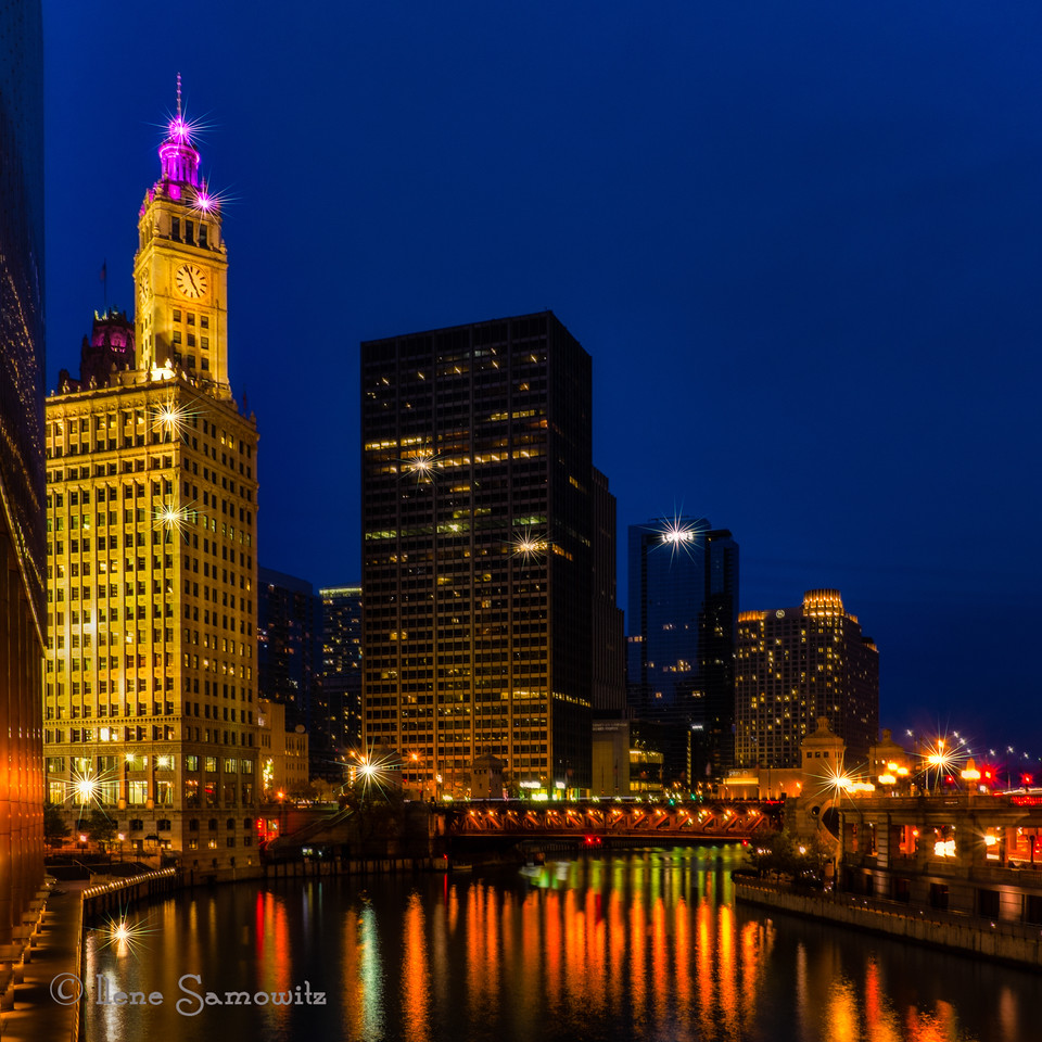 Chicago Riverwalk at the Blue Hour