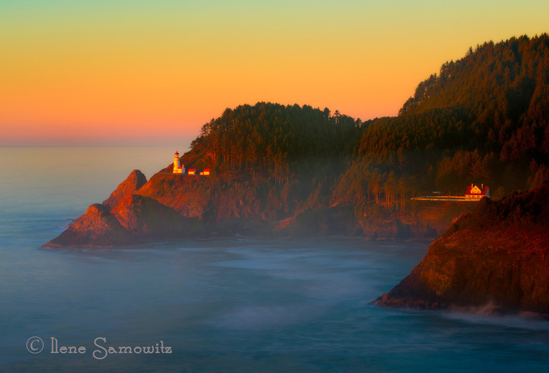 1-12-14 Longish exposure 3s at sunset looking at the Heceta Lighthouse., Oregon. <br /> <br /> Thanks for making my image 56 Chevy and Vista house number one. I'm looking forward to the new photo challenge.