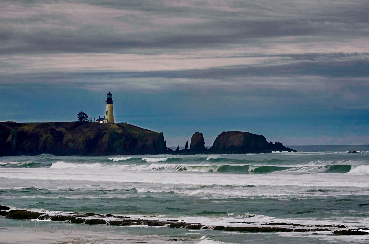 This version of the Yaquina Lighthouse was done with Topaz.