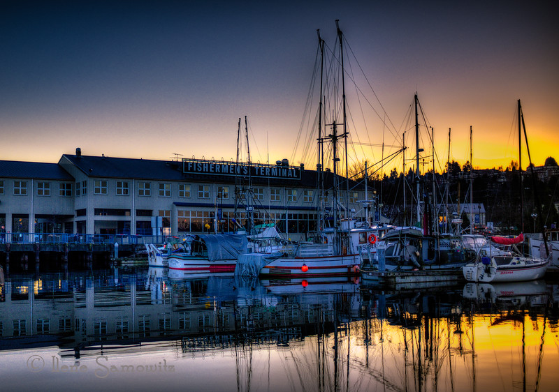 Golden hour at Fisherman's Terminal