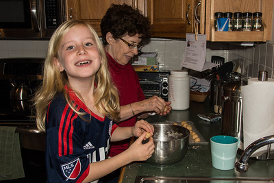 Rae cooking with Grandma