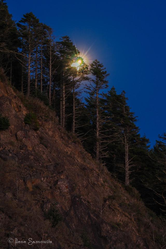 Moon over Neahkanie Mountain, Oregon