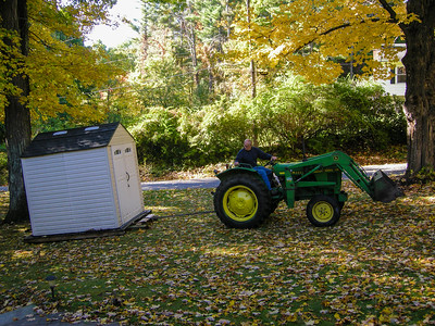 Moving the shed.