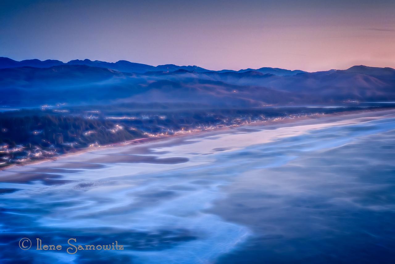 Manzanita, Oregon  from Neahkanie Mountain. I used Topaz Glow to enhance the dreamy feel.