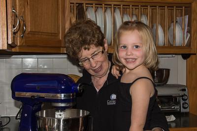 Bevin making cookies with Grandma
