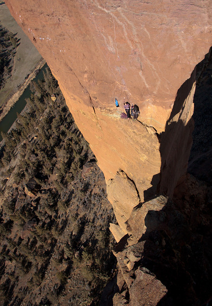 """Facing the Monkey"" - Climbers on Monkey Face at Smith Rocks State Park - Central Oregon - Gary Miller"