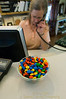 Diane Prescott has her M&M trap set at Beacham's Clock Company in Sisters, Oregon - Gary N. Miller - Sisters Country Photography