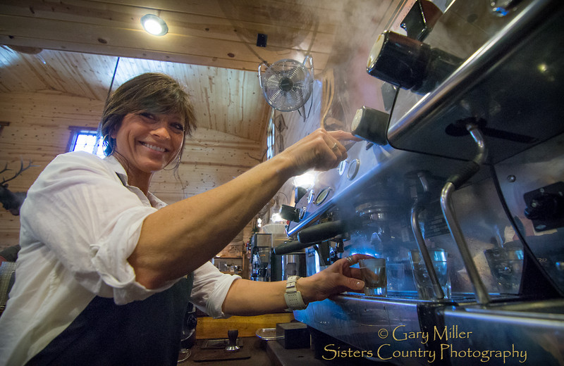 Barista at work - Debbie Schierholtz is brewing up some of the best coffee in the Pacific Northwest when she is at the helm of this espresso machine at Sisters Coffee Company in Sisters, Oregon. Gary N. Miller - Sisters Country Photography