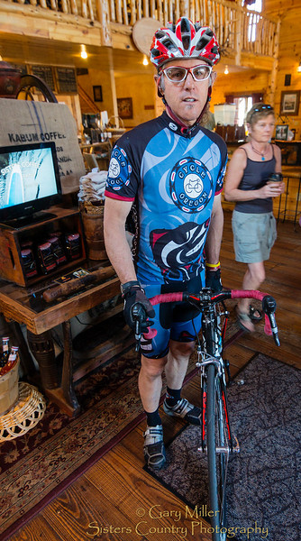 Rolling in for a stop at Sisters Coffee Company is a regular part of the ride for Sisters, Oregon local Rick Geraths. May 15 2012 for the ADay.org project - Gary N. Miller - Sisters Country Photography
