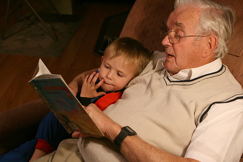 Gratefulness is having grandchildren to read to. Photo by Sue Anderson.