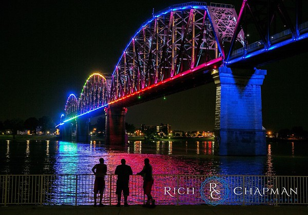© 2015 Rich Chapman Photographers LLC, 4 Bridges, Four Bridges, silhouette, Louisville, bridge, lights, night, Indiana, Kentucky, water, Ohio River