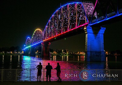 © 2015 Rich Chapman Photographers LLC, 4 Bridges, Four Bridges, silhouette, Louisville, bridge, lights, night, Indiana, Kentucky, water, Ohio River