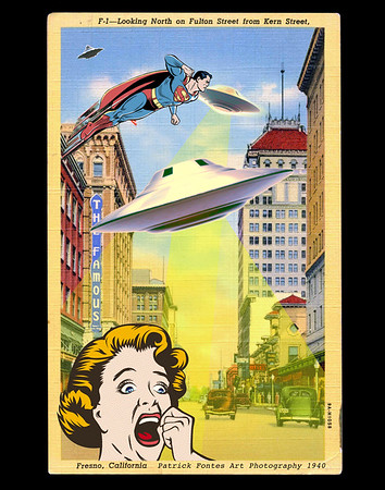 UFOS Downtown Fresno, reimagined vintage postcard series 1 of 5