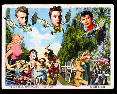 Rock n Roll Rowdy Racing, reimagined vintage postcard series 5 of 5
