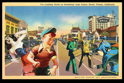 Gangsters on Broadway, Fresno, reimagined vintage postcard series 3 of 5