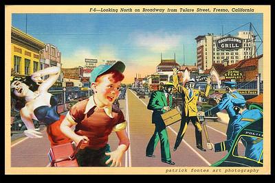 Gangsters on Broadway, Fresno, reimagined vintage postcard series 3 of 5