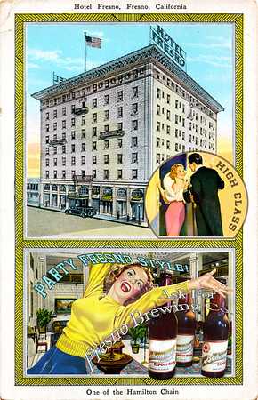 High Class Hotel Fresno,  reimagined vintage postcard series 4 of 5