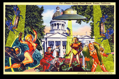 Aliens Attack Fresno Courthouse, reimagined vintage postcard series 2 of 5