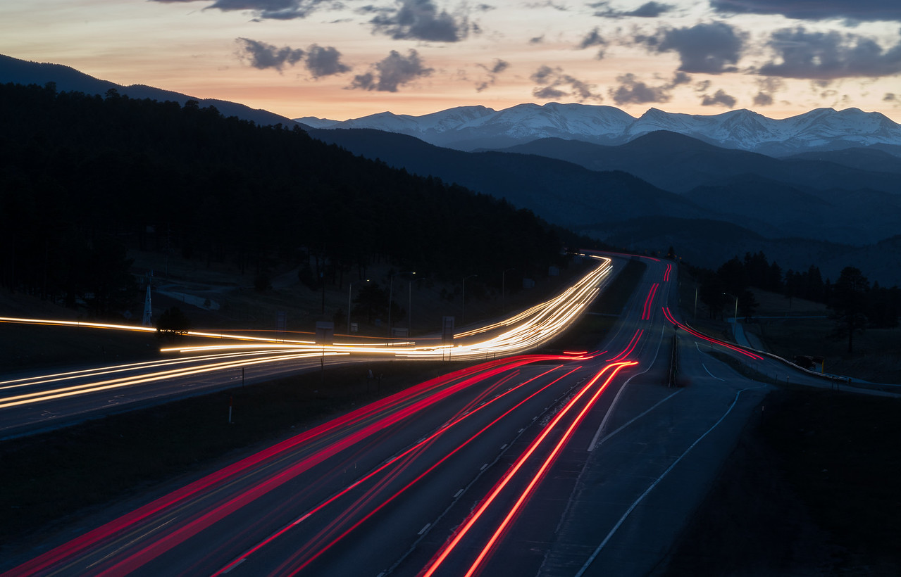 Light trails over Genesee Parkway, Colorado