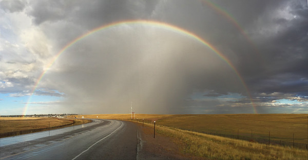 WOW!  Take a gander at this amazing rainbow! The joy of PANO photography – looking east near Cheyenne, WY.  September, 2016.