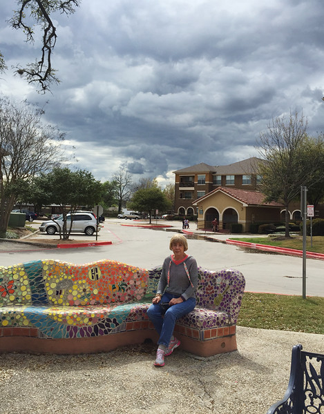In March, Carol, a friend from NM, and I spent a day in San Antonio visiting art galleries, art stores, and a yarn shop.  Fun day!  March, 2016.