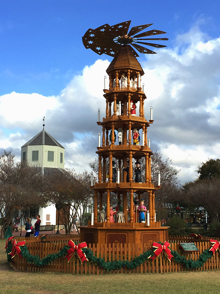 Here's a wonderful example of a German Christmas Pyramid displayed at the park in Fredericksburg, Texas. I drove there to find a table-top one and this was the best I could do.  Not bad, huh?  However, Amazon came through again.  ;-)  November, 2016.