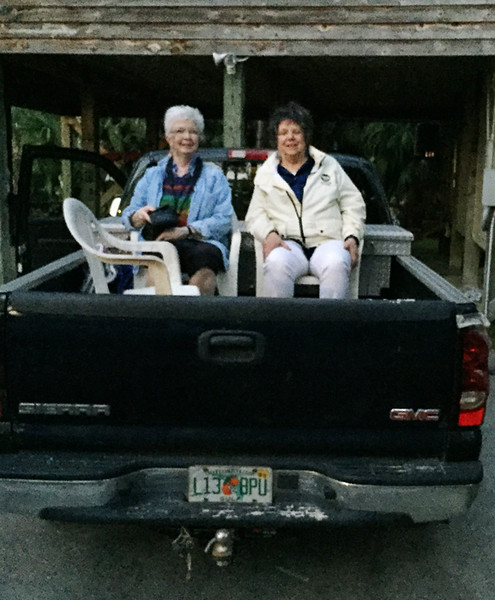 My siblings and I met in Jacksonville, FL, rented a car, and drove to Shirley's friends near Port St. Joe on the Gulf Coast.  We spent a week together before I went solo. Here, Claudia and I as we took turns riding in the back of the truck the mile to the beach where shelling was the activity of choice.   April, 2016.