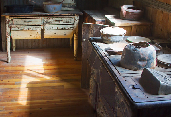 Beth and I met in Missoula this year. One of our destinations was the Garnet Ghost Town east of there.  It's another one of the places that is less interesting to a photographer after people start preserving it as an historic site.  This is the kitchen of the hotel.  September. 2016.