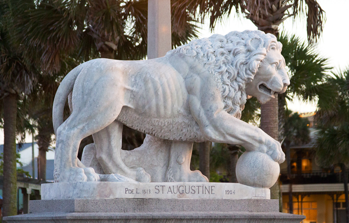 """This is one of the Medici lions on the Bridge of Lions in St. Augustine. The original Bridge of Lions replaced an older bridge to the island in the 1920s.   When first built it was called the """"Most Beautiful Bridge in Dixie"""".  It is now on the list of National Register of Historic Places.  Renovation was completed in 2010.  April, 2016."""
