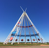 Medicine Hat, Alberta claims to have the tallest tepee in the world.  It's pretty tall.  My head didn't reach the bottom of the circle paintings.  It also has interesting paintings and readings about Native history and culture.  August, 2016.