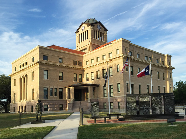 This recently restored courthouse is in Corsicana, Navarro Co, Texas.  The original Beaux Arts design was by J. E. Flanders in 1905.  Quite impressive!  I spent the day in Corsicana while the Terra Cloud was at Casita Travel Trailers for repairs.  November, 2016.