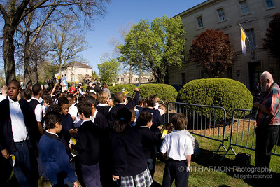 "On April 16th, 2008, 110 students from Annunciation School in Washington, DC had the honor and priviledge of singing ""Happy Birthday"" to Pope Benedict XVI at the Vatican Nunciature before his departure to the White House in the morning.  Led by choir director Denyce Daniels, the students sang their birthday greeting in German and English; followed by an encore performance of ""Donna Nobis Pacem"" in Latin.  The students were joined by their principal, Marguerite Conley, and Monsignor Lockman of Annunciation Church."