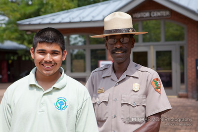Park Ranger William L. Banks (R) with Youth Conservation Corps member George Cabrera.
