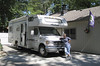 Gayle with the RV parked at Ron and her home in NE--June, 2008.