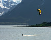While driving up Mud Flats road out of Haines, AK, I spotted two people windsurfing. I didn't join them. June, 2009.