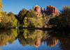 During the week I spent in the Phoenix area, Stan (former H.S. classmate) and I took a day-trip to Sedona where we visited the Chapel of the Rocks, Knit Wits, Tlaquepaque, and found Cathedral Rock (left) and Courthouse Rock reflected in Oak Creek --- the iconic image. It was so refreshing to see that much water in the desert.  November, 2011.