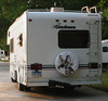 """The 2000 Coachmen """"summer"""" motorhome was calling for a little sprucing up so I gave it a bath, leak repair, and new spare tire cover.  It feels better already as I leave TX, even with work still to be done inside and out. May, 2011."""