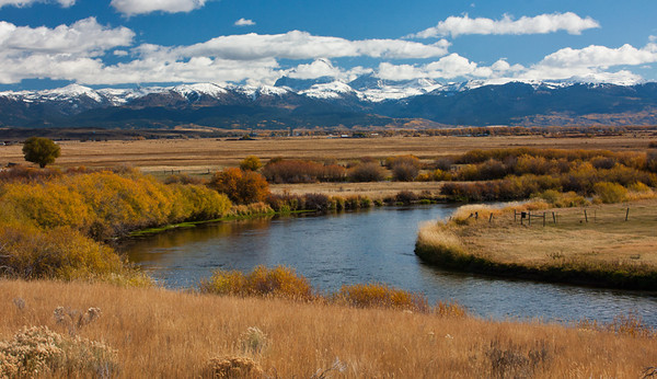 My week-long pain/illness was finally gone enough for me to make the 100+ miles trip to shoot in Grand Teton NP.  This view is from the west, the Idaho side, which also had more snow on the peaks than the Wyoming side. October, 2011.