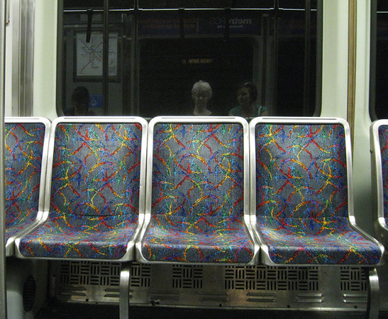 I can't say much for the aesthetics in The T (Boston subway) except the rainbow inspired-seats were a nice contrast to the rest of it. Yes, that's Maria and me going to Harvard Square. June, 2012.
