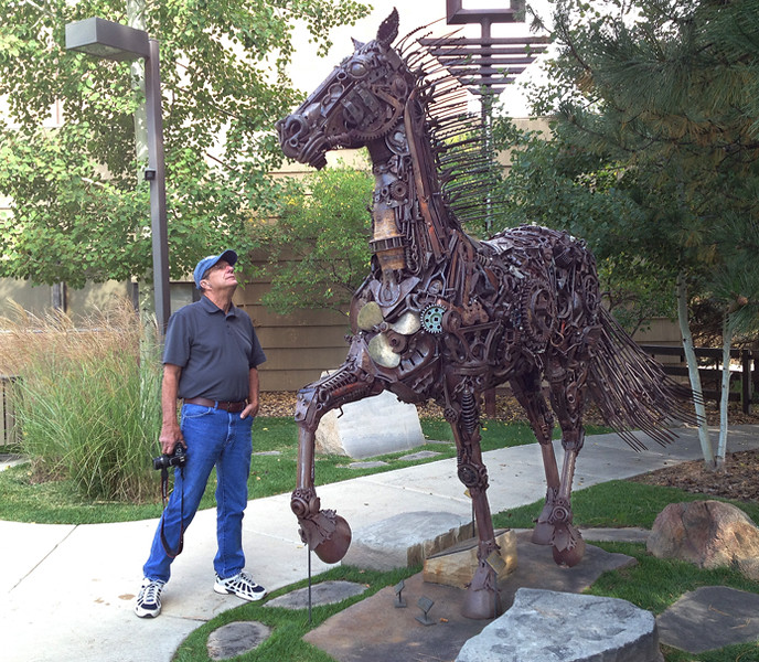 Sunday morning we visited the Leanin' Tree Museum where the artwork was mostly traditional with a few unique pieces like this horse sculpture of many parts.  September, 2014.