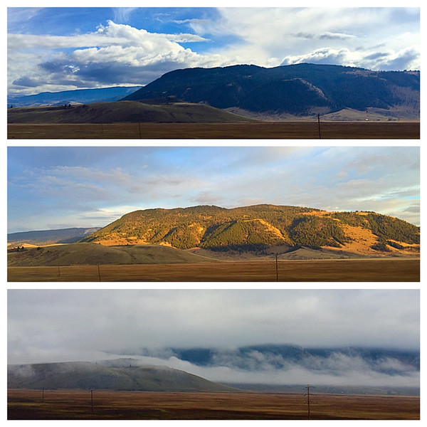 It was so late in the season that I couldn't find a good campground in Jackson Hole, so I stayed a couple nights overlooking the National Elk Refuge (saw no elk, however) and these hills. The weather made a big impression on them.  Love it!  October, 2015.