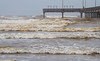 The waves were totally different when Beth B. and I met at Port Aransas on the Gulf Coast 10 days earlier. Due to storms and high tide these were the biggest waves I've seen at Port A in the many years I've been there.  October, 2015.