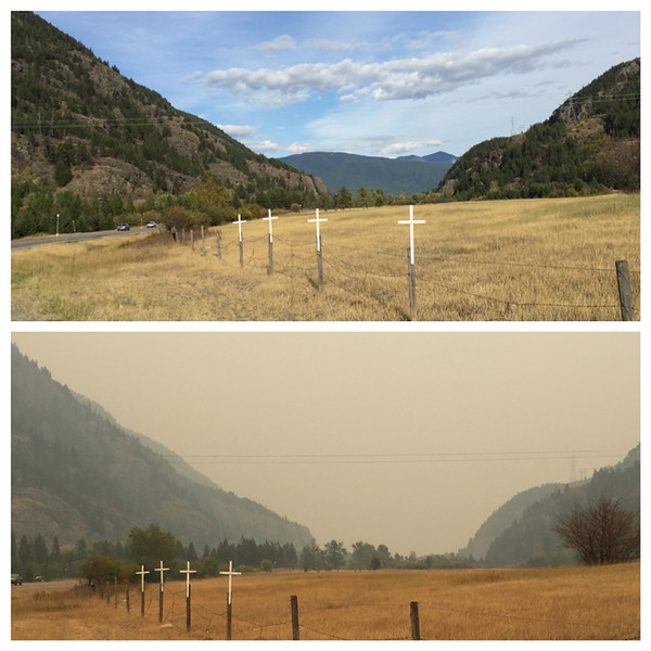 The forest fire smoke was quite heavy for many days in August as apparent in the lower image. This is on Hwy. 2 just west of Hungry Horse, MT.  August, 2015.