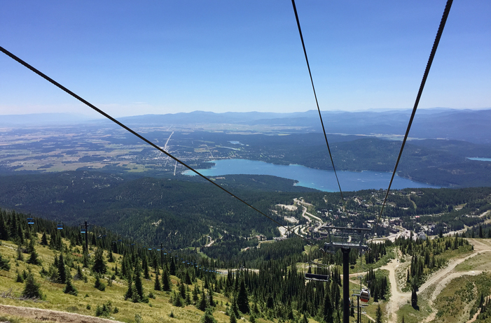 There's a great view of the north end of the Flathead valley from the Big Mountain Scenic Lift ride.  At the base of the mountain is the town of Whitefish and Whitefish Lake.  There are lifts for bikes so the kids can ride the lift to the top of the mountain and ride down on the trails. There are also lots of hiking trails. We had lunch at the top overlooking the mountains along the Great Divide to the east.  July, 2015.