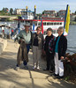 Saturday evening we opted for a dinner cruise on the Belle of Hot Springs on Lake Hamilton. Walter, Jody, Claudia, and Shirley are ready to board for the 3-hour tour and sunset.  May, 2015.