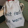 I found two nice yarn shops in town and this fun bag.  I also found a few patterns and some RED yarn.  July, 2017.