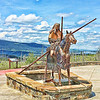A year ago when leaving St. Mary, I saw a roadside attraction being built. . . and this is it!  There's finally a sculpture of a woman on the Blackfeet Reservation to accompany the warrior ones along the highway. Kudos to the decision-makers and artist.  July, 2018.