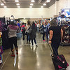 The reason for the trip was the DFW Fiber Fest in Irving.  The classes I wanted to take were full by the time I learned of the Fiber Fest, so I spent all my time (and money) in the vendor's hall.  :-). The two women in black came for some serious shopping.  ;-). April, 2018.