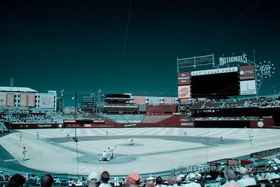 "Washington Nationals vs. Atlanta Braves on August 31, 2008, Infrared.   (Washington, DC).  Compare this infrared shot to the previous ""normal"" shot taken from the same vantage point... the differences are fascinating!"