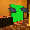 Green Screen Photo Booth Setup with Social Media Kiosk